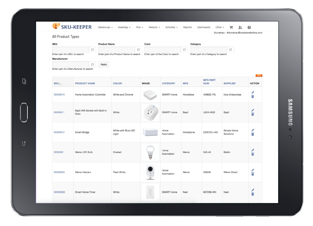The SKU-Keeper All Product Types screen displays the SKU, product name, color, image, category, manufacturer, part number, supplier and action for all the items in your warehouse or distribution center.