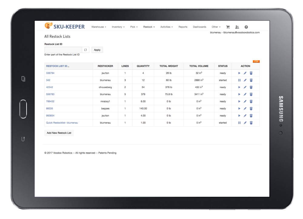 SKU-Keeper inventory management software All Restock Lists displays the ID, restocker, lines, quantity, total weight, total volume, status, and action.
