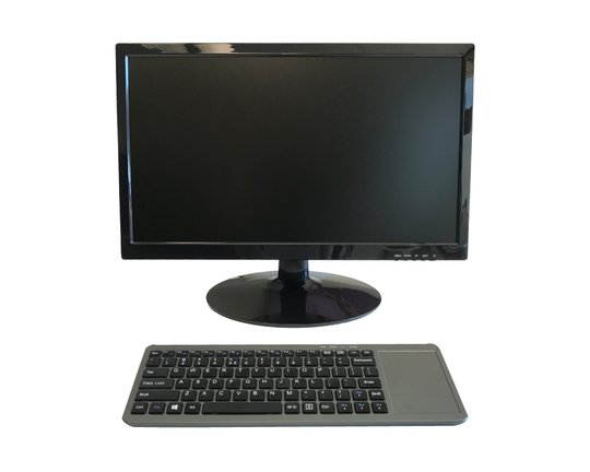 The SKU-Station consists of a monitor and keyboard with integrated CPU.