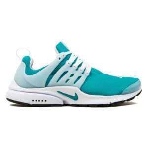 Teal Nike running shoe with white trim