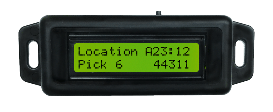 "Pick-to-Light devices can display any two lines of text. This example shows, ""Location A23:12 Pick 6 SKU 44311"""
