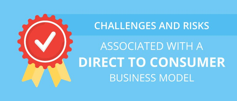 """Blog header in light blue with white text that read, """"Challenges and Risks associated with a Direct to Consumer Business Model"""". There is also an abstract ribbon with a checkmark in the middle."""