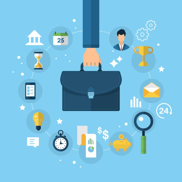Blue background with various business icons surrounding a hand holding a briefcase is representative of the management changes that must take place when a company adopts a direct to consumer model.