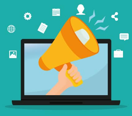 A megaphone extends out of a laptop representing the challenge in marketing to consumers when a business is more familiar with B2B marketing.