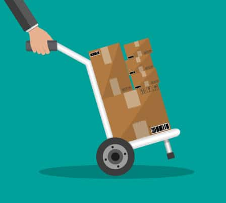 Teal background with abstract boxes on a dolly represent the challenge many companies face when shipping many small packages to individual customers rather than pallets to businesses.