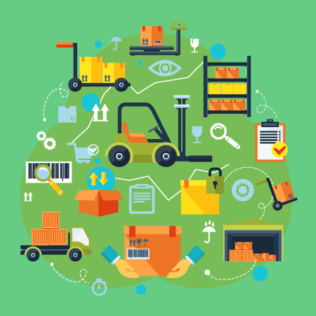 Abstract image of distribution center or warehouse receiving returns from customers and businesses. Images show a forklift, picking cart, racking, dolly, shipping bay, packaging, shipping, and qa.