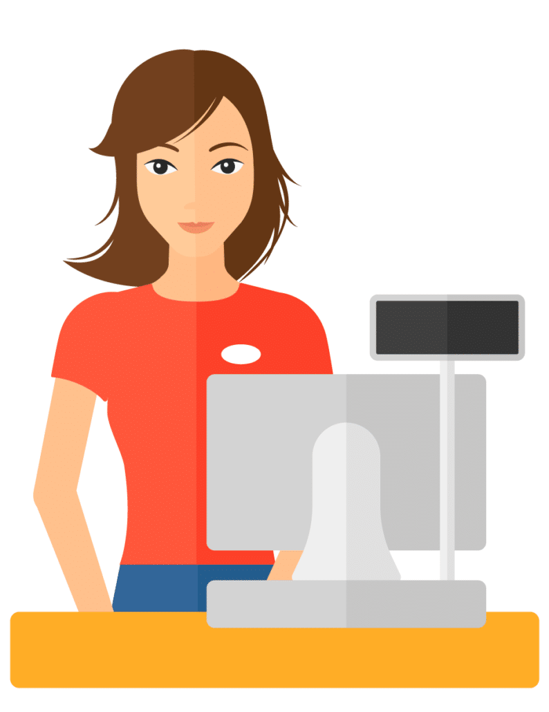Abstract image of a woman cashier represents maintaining good relationships with retail partners even when shipping to the consumer.