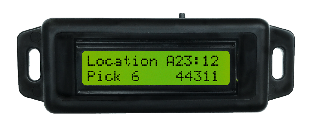 pick-to-light device showing the location of inventory in a warehouse
